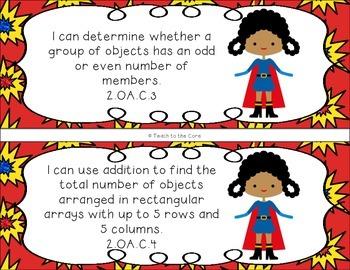 2nd Grade Superhero Math I Can Statements