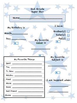 2nd Grade Superstar - Introductory Page