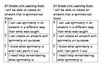 2nd Grade Symmetry Learning Goal and Scale