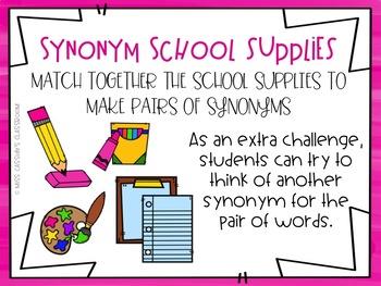 2nd Grade Synonym ELA/Literacy Center