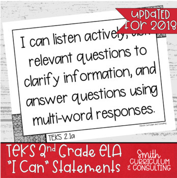 """Second Grade TEKS """"I Can"""" Statements Bundle- All 4 Core Subjects"""