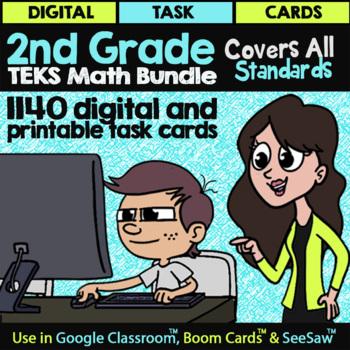 2nd Grade Teks Math Task Cards Staar Math Task Cards Bundle