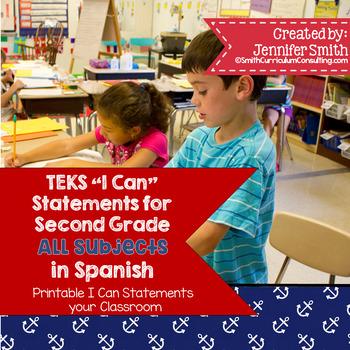 "Spanish 2nd Grade TEKS ""Yo Puedo"" Statements Bundle- All 4"