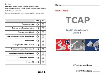 2nd Grade TN Ready TCAP ELA Practice Test E