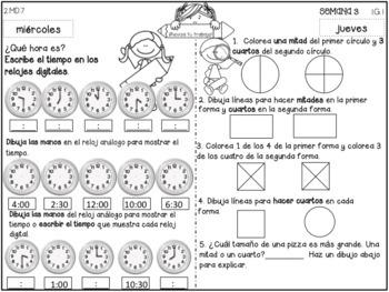2nd Grade Tarea de Matemáticas - Free Sample