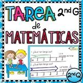 2nd Grade Tarea de Matemáticas en Español - 2nd Quarter