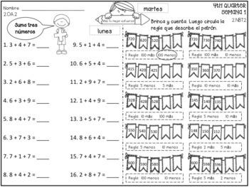 2nd Grade Tarea de Matemáticas en Español - 4th Quarter