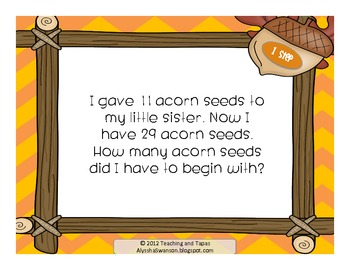 2nd Grade Task Cards - 1 and 2 Step Problems (CCSS 2.OA.1) Fall/Thanksgiving