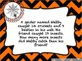 2nd Grade Halloween Math Problem Solving  (1 and 2 Step Problems) 2.OA.1