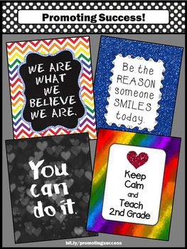 2nd Grade Posters, Motivational Quotes Posters Set of 4, Teacher Appreciation