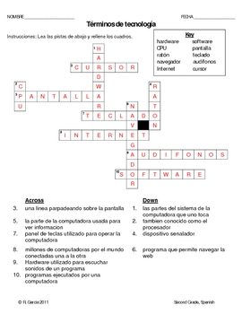 2nd Grade Technology Terminolgy Worksheet Spanish by Rosa ...