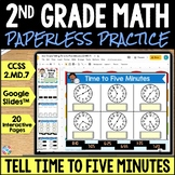 2nd Grade Telling Time to 5 Minutes Google Classroom Dista