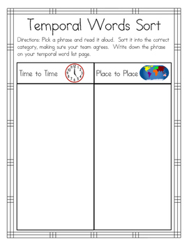 2nd Grade Temporal Words RoundTable