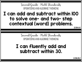 2nd Grade Tennessee Math Standards and I Can Statements