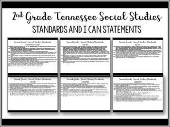 2nd Grade Tennessee Social Studies Standards and I Can Statements