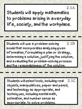 2nd Grade Texas TEKS Math Learning Objectives Cards