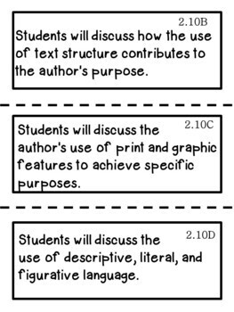 2nd Grade Texas TEKS Reading/ Writing Learning Objectives Cards