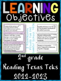 2nd Grade Texas TEKS Reading/ Writing Learning Objectives Cards | Color & B&W
