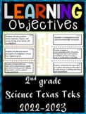 2nd Grade Texas TEKS Science Learning Objectives Cards | Color & B&W