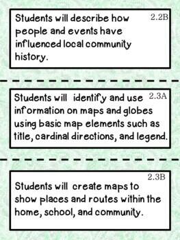 2nd Grade Texas TEKS Social Studies Learning Objectives Cards
