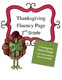 2nd Grade Thanksgiving Fluency Passage Differentiated