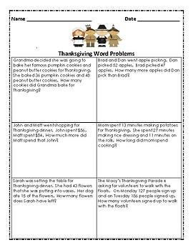 2nd Grade Thanksgiving Math Pack