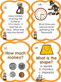 2nd Grade Thanksgiving Math Task Cards {Common Core Aligned- All 4 domains!}