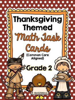 2nd Grade Thanksgiving Math Task Cards {Common Core Aligne