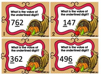 2nd Grade Thanksgiving Themed Math Task Cards