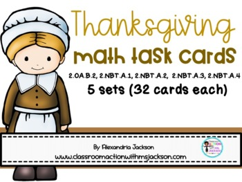 2nd Grade Thanksgiving Themed Math Task Cards