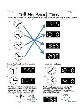 2nd Grade Time Worksheet