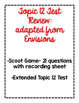 2nd Grade Topic 12 Test Pack adapted from Envisions