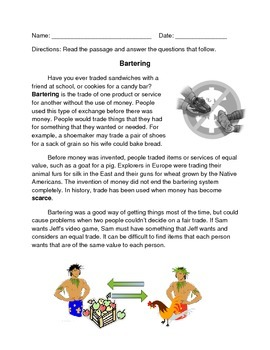 2nd Grade Trade and Barter Reading Comprehension Passage and Questions 2.E.1.4