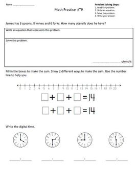 2nd Grade Math Assessment Homework Practice Worksheets:Common Core -Transition 1