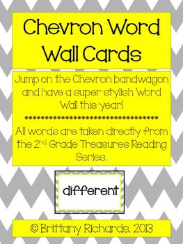 2nd Grade Treasures Chevron Word Wall Word Cards