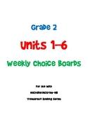 2nd Grade Treasures Choice Boards - Unit 1-6