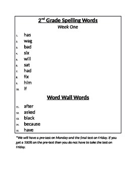 2nd Grade Treasures Spelling List and Word Wall Words- Units 1-6