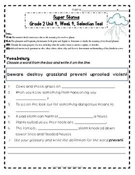 2nd Grade Treasures Super Storms Common Core Leveled Tests