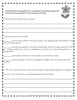 2nd Grade Treasures The Tiny Seed Common Core Leveled Tests