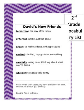 2nd Grade Treasures Vocabulary List Unit 1 (Preview distorts it, it is centered)
