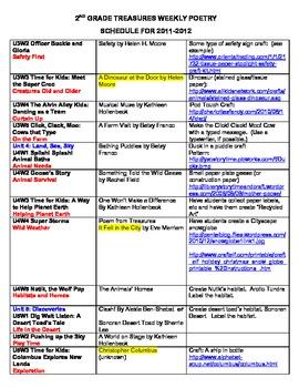 2nd Grade Treasures Weekly Poetry Schedule by Just 4 ...