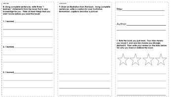 2nd Grade Nonfiction Book Report Trifold Brochure