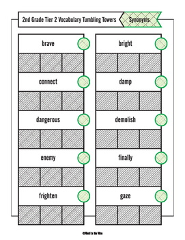 2nd Grade Tumbling Towers Tier 2 Vocabulary Game