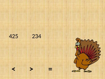 2nd Grade Turkey Math Greater Than, Less Than, Equal To