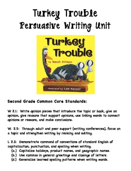 2nd Grade Turkey Trouble Persuasive Writing Unit - Common Core Aligned