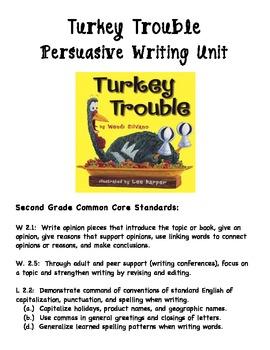 2nd Grade Turkey Trouble Persuasive Writing Unit - Common Core Aligned