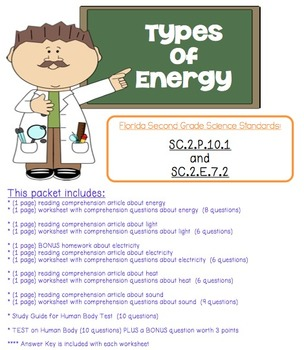 2nd Grade Types of Energy Reading Comprehension Pack | TpT