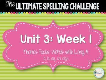 2nd Grade Ultimate Spelling Challenge Center Activity: Reading Wonders UNIT 3