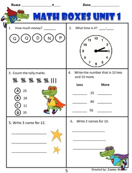 2nd Grade Unit 1 Everyday Math Review ~ Numbers & Routines