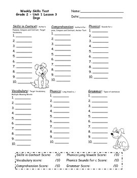 2nd Grade, Unit 1 Journey's Weekly Skills Test Answer Sheets